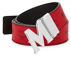 MCM Men's Claus M Reversible Belt in Black Logo Visetos