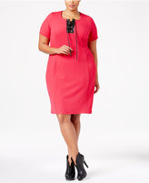 NY Collection Plus Size Faux-Leather-Trim Dress