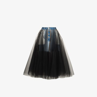 Unravel Project Reversed denim and tulle skirt