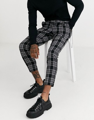 Topman skinny smart pants in mono check