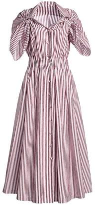 By Any Other Name Velvet Stripe Shirred Waist Tea Dress