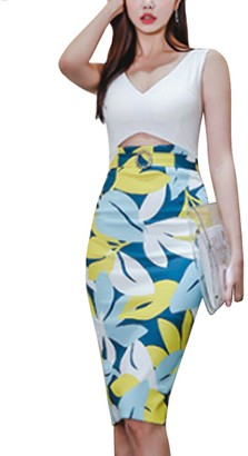 Inshine Women Cut Out Sleeveless Hollow Bodycon Business Cocktail Dresses Blue-S