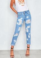 Missy Empire Matita Light Blue Denim Stars Ripped Boyfriend Jeans
