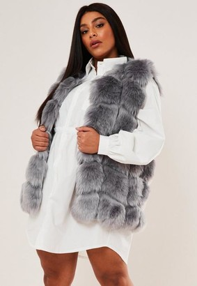 Missguided Size Grey Faux Fur Bubble Gilet