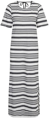 Ichi Black Stripe Jersey Dress - S - Black/White