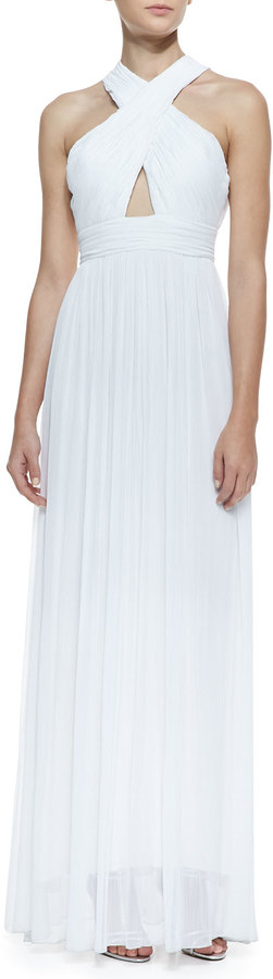Alice + Olivia Jaelyn Cross-Front Pleated Chiffon Gown