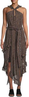 Derek Lam 10 Crosby Floral-Print Asymmetrical Ruffle Halter Dress