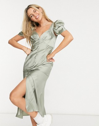 ASOS DESIGN button through midi tea dress with drape shoulder detail