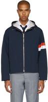 Thom Browne Navy Elastic Drawstring Hooded Jacket