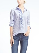Banana Republic Riley-Fit Stripe Ruffle Shirt
