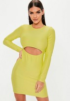 Missguided Green Ribbed Cut Out Mini Dress