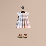 Burberry Ruffle Detail Check Cotton Dress , Size: 3Y, Orange