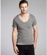 Scotch & Soda grey and light grey cotton double layered v-neck t-shirts