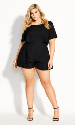 City Chic Mysterious Playsuit - black