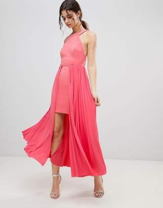 Asos Design DESIGN high low mini pleated dress-Pink