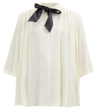 Giambattista Valli Pussybow Lace-trimmed Crepe Blouse - Ivory