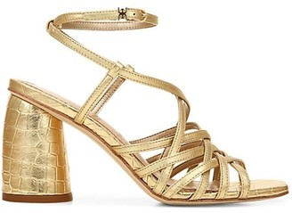 Sam Edelman Daffodil Ankle-Wrap Croc-Embossed Metallic Leather Sandals