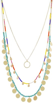 Panacea Multi-Color Beaded & Disk Layer Necklace