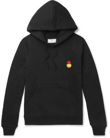 Ami + The Smiley Company Appliquéd Loopback Cotton-Jersey Hoodie