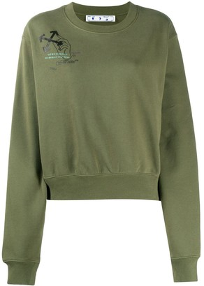 Off-White Arrow Print Cropped Sweatshirt