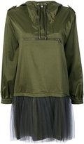 Moschino tulle layer nylon hoodie dress