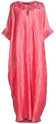 Natori Luster Embellished Silk Caftan