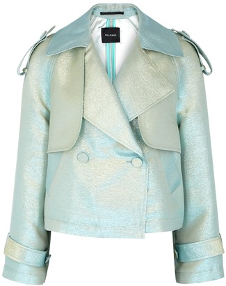 Palones Luna blue cropped lame trench jacket