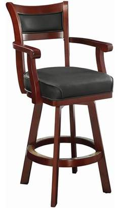 Online Buckley Bar Stool with Leather Back and Swivel Seat Black and Cherry