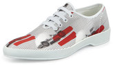 Prada Runway Racecar Lace-Up Sneaker, White/Red