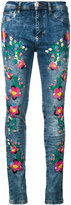 Philipp Plein floral embroidery skinny jeans