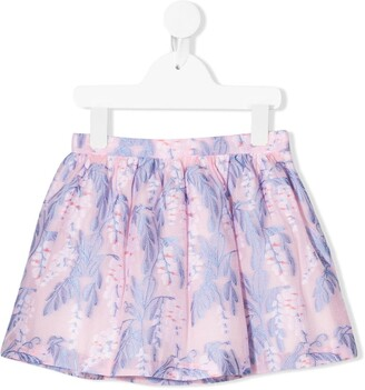 Hucklebones London Gathered Floral Embroidered Skirt