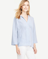Ann Taylor Striped Poplin 3/4 Sleeve Popover