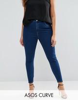 Asos High Waist Ridley Skinny Jean In Deep Blue Wash