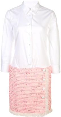 Contrast-Panel Shirt Dress