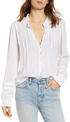 Faherty Willa Button Front Peasant Blouse