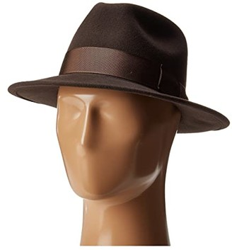 Frederick Country Gentleman Wide Brim Fedora Hat (Brown) Caps