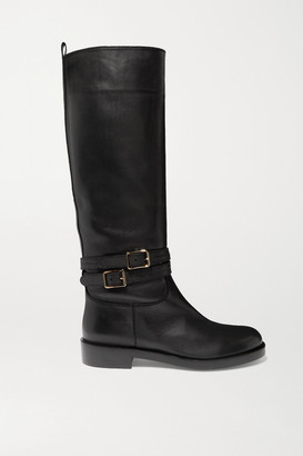 Gianvito Rossi Buckled Leather Knee Boots - Black