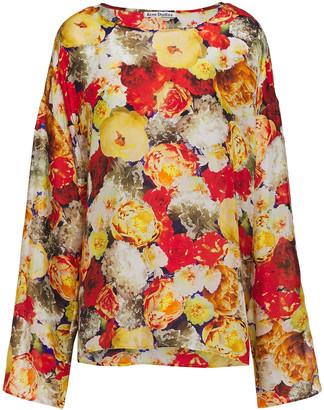 Acne Studios Brenna Oversized Floral-print Silk Crepe De Chine Blouse