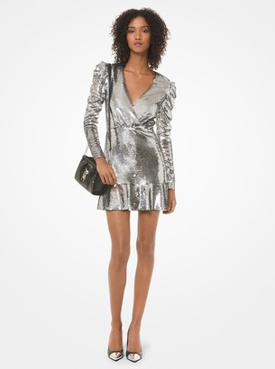 MICHAEL Michael Kors Sequined Ruched-Sleeve Dress