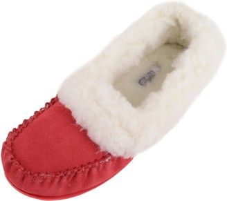 SNUGRUGS Womens Lambswool Suede Moccasin Slipper with Wool Cuff & Rubber Sole - Red - 5 UK