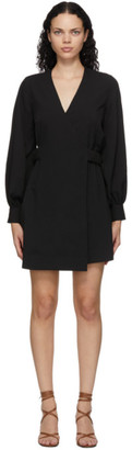 Ganni Black Crepe Wrap Dress