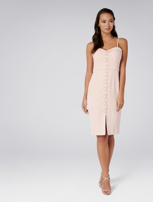Forever New Emmie Lace up Bar Dress - Blush - 16