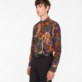 Paul Smith Men's Slim-Fit 'Monkey' Print Cotton Shirt With 'Artist Stripe' Cuff Lining