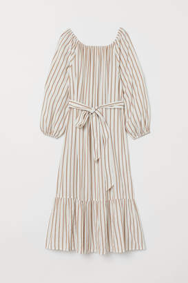 H&M Long Dress with Tie Belt - White