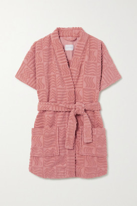LUCY FOLK Horizon Belted Cotton-terry Robe - Antique rose