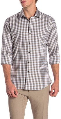 David Donahue Spread Collar Casual Fit Button Down Shirt