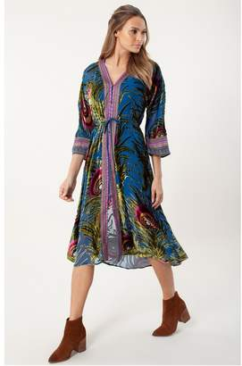 Hale Bob Ondine Silk Velvet Burnout Dress Beaded