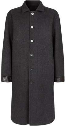 Jil Sander Leather-Trim Overcoat