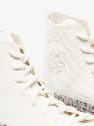 Converse White Renew Chuck 70 High Top Knit Sneakers