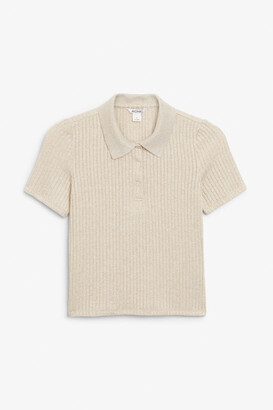 Monki Short sleeve ribbed polo